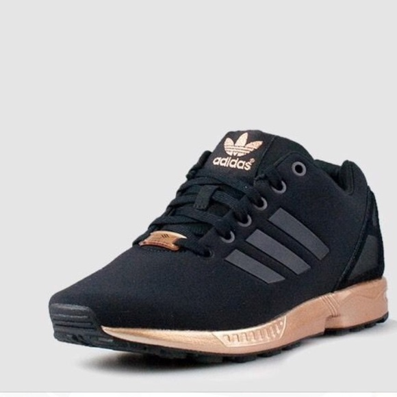 black and copper adidas flux
